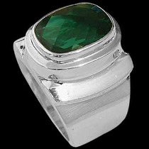 Men's Jewelry - Green Quartz and .925 Sterling Silver Rings MR20-5grqu - Polish Finish