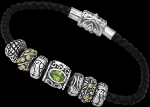 Leather Bracelets - Peridot 18K Gold .925 Sterling Silver Beads and Black Leather Bracelet B815pe