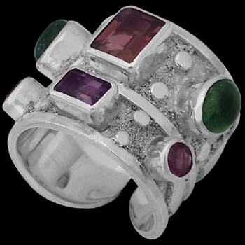 Garnet Green Tourmaline  Amethyst and .925 Sterling Silver Ring R-SN2gaamy
