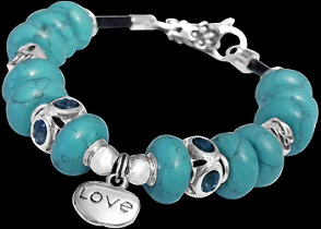 Blue Beads Blue Cubic Zirconias and .925 Sterling Silver Beads and Leather bracelet PB610