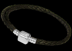 Black Double Waved Leather with .925 Sterling Silver Clasps PB102