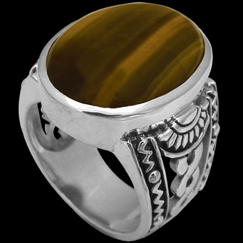 Silver Jewelry - Tiger Eye and .925 Sterling Silver Ring R1031tig
