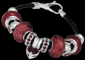 Leather Bracelets - Red Crystal Beads Red Cubic Zirconias and .925 Sterling Silver Beads and Leather bracelet PB013