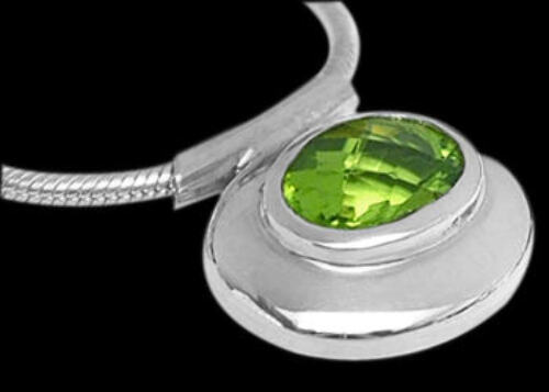 Bridal Gifts - Peridot and Sterling Silver Necklaces N838pr