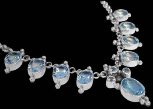 Bridal Gifts - Topaz and Sterling Silver Necklace N202ftp