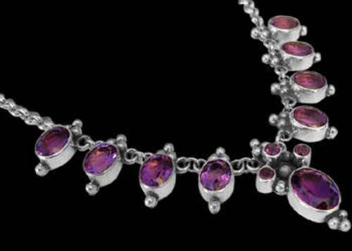 Bridal Gifts - Amethyst and Sterling Silver Necklaces MN202fam