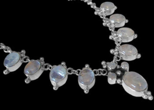 Bridal Gifts - Rainbow Moonstone and Sterling Silver Necklaces MN202rms