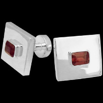Silver Jewelry - Garnet and Sterling Silver Cuff Links AZ501ga