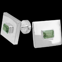 Silver Jewelry - Peridot and Sterling Silver Cuff Links AZ501pr