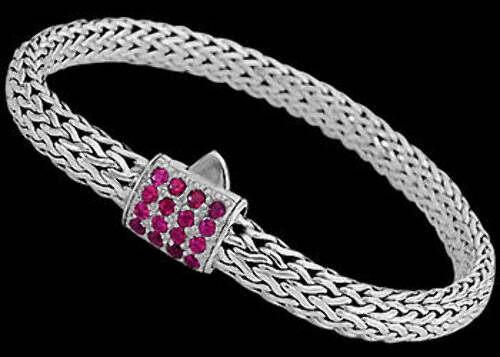 Silver Jewelry - Red Ruby and Sterling Silver Bracelets B6115Rb