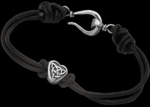 .925 Sterling Silver Celtic Beads and Black Leather Bracelets - Celtic Beads ANIXI1009