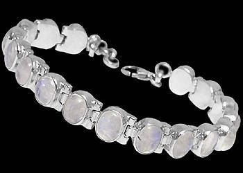 Rainbow Moonstone and Sterling Silver Bracelets B1