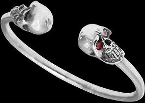 Gothic Jewelry - Cubic Zirconia Gemstones and Sterling Silver Skull Cuff Bracelets B224