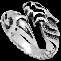 Gothic Rings - .925 Sterling Silver Dragon Tattoo Rings R932
