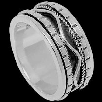 Plus Size Jewelry - Sterling Silver Medidation Rings R1-10067L - Plus Sizes