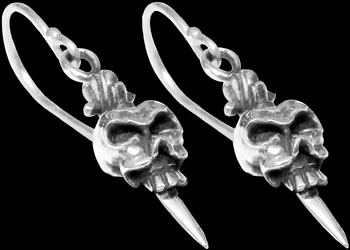 Silver Jewelry - .925 Sterling Silver Earrings - Dangle Skull Earrings RCK2001
