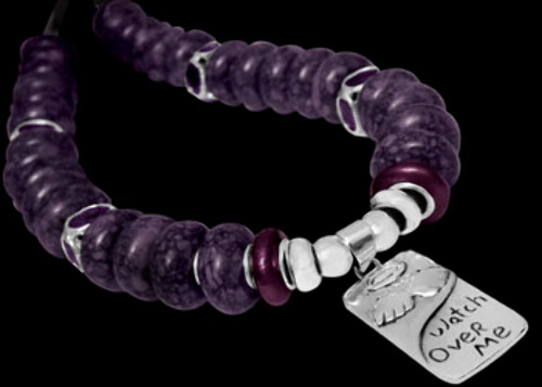 Purple/Black Beads Amethyst CZ Silver Beads .925 Sterling Silver Beads and Black Leather Necklaces - Watch Over Me Message Pendant BN334
