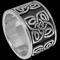 Plus Size Jewelry - Sterling Silver Rings - Celtic Knot Shield Bands RI C19L - Plus Sizes