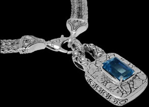 Valentine's Day Jewelry Gift - Blue Topaz and .925 Sterling Silver Necklaces N6060Bt