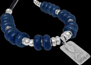Blue Beads .925 Sterling Silver Beads and Black Leather Necklaces - Believe Message Pendant BN332