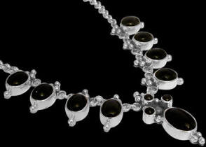 Anniversary Jewelry Gift - Onyx and Sterling Silver Necklaces MN202onyx