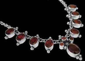 Anniversary Jewelry Gift - Garnet and Sterling Silver Necklaces MN202fga
