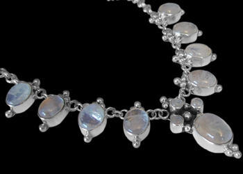 Valentines Day Jewelry Gift - Rainbow Moonstone .925 Sterling Silver Necklaces MN202rms