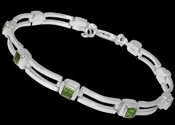 Peridot and .925 Sterling Silver Anklets MA16