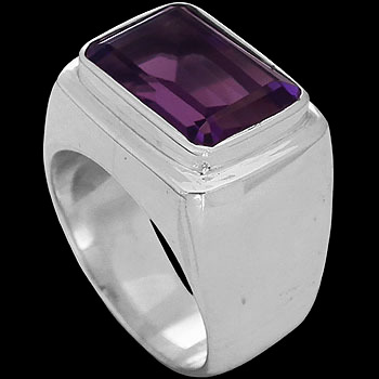 Men's Jewelry - Dark Amethyst and Sterling Silver Rings MR036