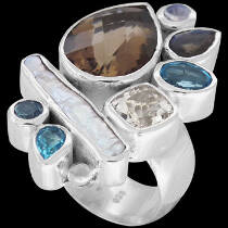 White Pearl Smokey Quartz Rainbow Moonstone Blue Topaz Clear Quartz Labradorite and Sterling Silver Ring R-1264SMK