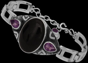 Amethyst Black Onyx and .925 Sterling Silver Bracelet MBB01amy