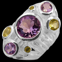 Amethyst Citrine and Sterling Silver Ring RV29