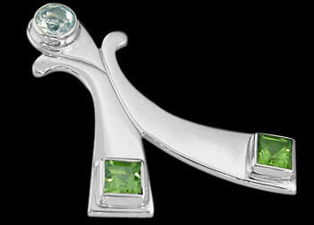 Anniversary Jewelry Gift - Sky Topaz Peridot and Sterling Silver Pendants MP06