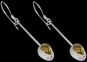 Mother's Day Jewelry Gift - Citrine and Sterling Silver Earrings E380