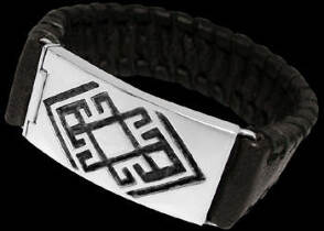 Genuine Black Leather and Sterling Silver Bracelets BR1241