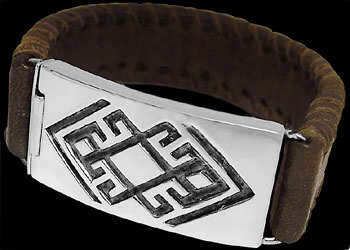 Genuine Brown Leather and Sterling Silver Bracelets BR1241