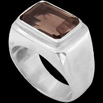 Men's Jewelry - Smokey Quartz and .925 Sterling Silver Ring MR036