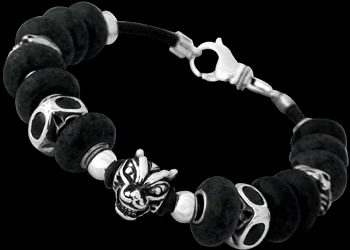 Gothic Jewelry - Black Beads .925 Sterling Silver Beads and Black Leather Bracelets - Dragon Head Beads BB919