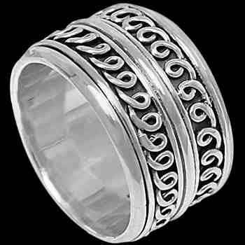Silver Jewelry - Sterling Silver Meditation Rings R1-10166