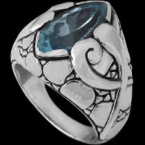 Men's Jewelry - Blue Quartz and .925 Sterling Silver Ring R1507Bq