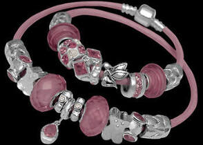 Leather Bracelets - Pink Glass Beads Pink Cubic Zirconias and .925 Sterling Silver Beads and Double Pink Leather bracelet PB114