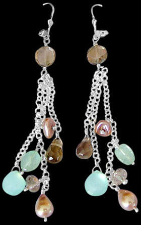 Bridesmaids Jewelry - Smokey Quartz Chalcedony Pearl Aquamarine and Sterling Silver Earrings E1156