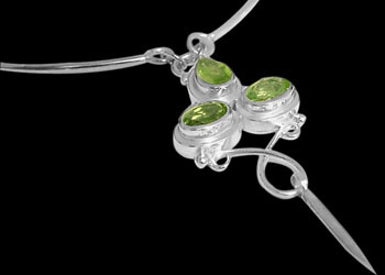 Peridot and Sterling Silver Necklaces N76