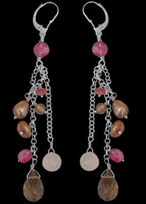 Bridesmaids Jewelry - Pink Tourmaline Smoky Quartz Rainbow Pearl and Sterling Silver Earrings E1156