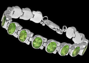Anniversary Jewelry Gift - Peridot and Sterling Silver Bracelets B1