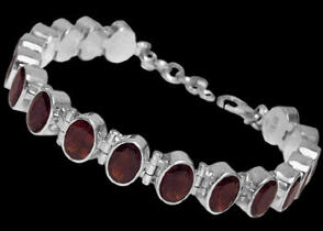 Anniversary Jewelry Gift - Garnet and Sterling Silver Bracelets B1