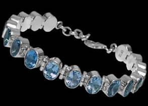 Anniversary Jewelry Gift - Topaz and Sterling Silver Bracelets B1
