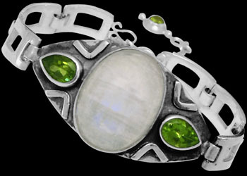 Engagement Jewelry Gift - Rainbow Moonstone Peridot and Sterling Silver Bracelet MBB01