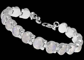 Anniversary Jewelry Gift - Rainbow Moonstone and Sterling Silver Bracelets B1