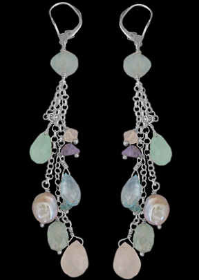 Anniversary Jewelry Gift - Aquamarine chalcedony Topaz Moonstone Tanzanite Pearl and Sterling Silver Earrings E1156